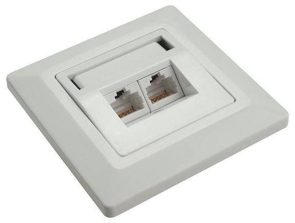 SOLARIX SX9-2-5E-UTP-WH zásuvka pod omítku 2xRJ45, UTP, kat. 5E, bílá