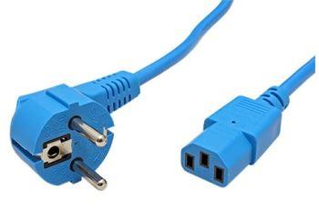 19.08.1012 kabel síťový 230V,10A, vidlice CEE 7/7(M) - IEC320 C13, 1,8m, modrý