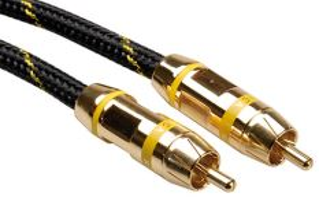 ROLINE 11.09.4233 Gold kabel cinch(M) - cinch(M), žluté konektory, 2,5m