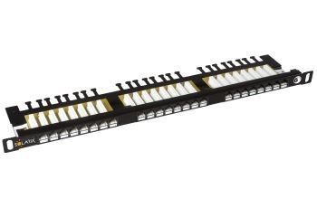 """SOLARIX SX24HD-6-UTP-BK patch panel UTP 24xRJ45 kat. 6, 0,5U, 19"""", osazený, s vyvazovací lištou, černý"""