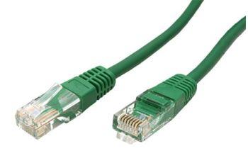 ROLINE UTP-1-GR propojovací kabel RJ45/RJ45, U/UTP,  1m, kat. 5E, zelená