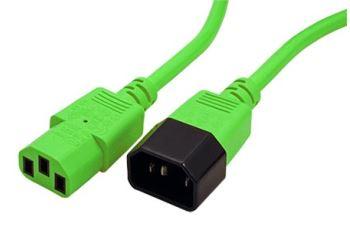 19.08.1528 kabel síťový prodlužovací kabel IEC320 C14 - C13, 0,8m, zelený