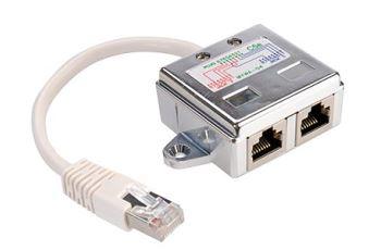 Value 21.99.3050 stíněná rozdvojka RJ45/2xRJ45, M/2xF, kat. 5e, PC-PC, stříbrná