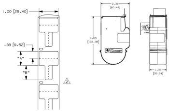 "PANDUIT F100X150AJC kazeta P1 s popiskami typu ""flag"", 38,1x25,4mm, pr, kabelu 3,1-5,2mm, 200 ks bílých štítků"