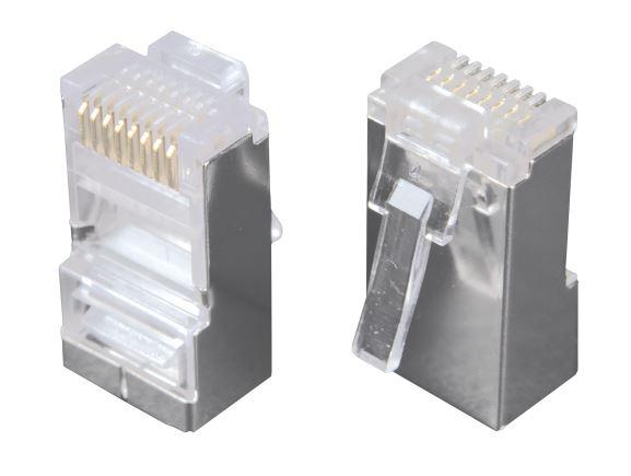 SOLARIX KRJS45/5SLD stíněný konektor RJ45 8/8, kat. 5, drát kulatý, 50µ zlata