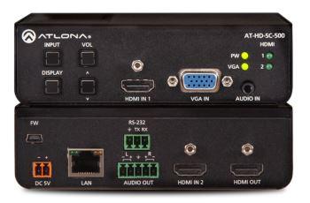 ATLONA LAN-AT-HD-SC-500 scaler se zabudovaným 3x1 přepínačem pro HDMI a VGA signály, 2x HDMI vstup, 1x VGA vstup