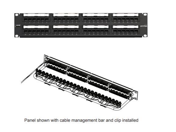 LEVITON 69586-B48 nestíněný patch panel Cat6Plus,48xRJ45,1RU, kat. 6, s vázací lištou s klipy, 110IDC, černý