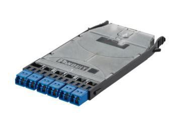 PANDUIT FHS9N-12-10N kazeta systému HD Flex, pro svaření vláken, 6x LC duplex SM spojky (modré)