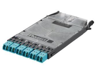 PANDUIT FHSXN-12-10N kazeta systému HD Flex, pro svaření vláken, 6x LC duplex MM spojky (tyrkysová)