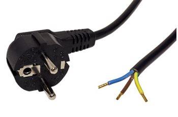 19.08.1111 kabel síťový,230V, 10A, vidlice CEE 7/7(M) - bez koncovky, 3x1mm, 3m, černý