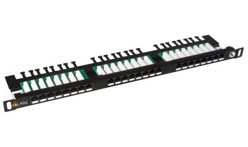 SOLARIX SX24HD-5E-UTP-BK patch panel UTP 24xRJ45 kat. 5E, 0,5U, 19